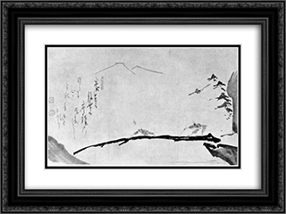 Blind Men Crossing a Bridge 24x18 Black or Gold Ornate Framed and Double Matted Art Print by Hakuin Ekaku