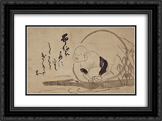 Hotei on a Boat 24x18 Black or Gold Ornate Framed and Double Matted Art Print by Hakuin Ekaku