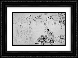 Lame Beggar on a Handcart 24x18 Black or Gold Ornate Framed and Double Matted Art Print by Hakuin Ekaku
