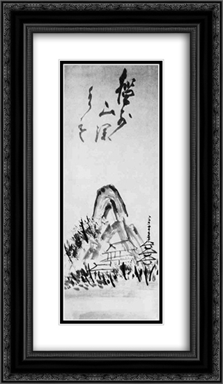 Landscape 14x24 Black or Gold Ornate Framed and Double Matted Art Print by Hakuin Ekaku