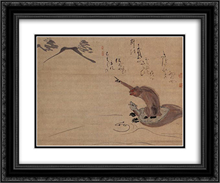 Monkey and Tortoise 24x20 Black or Gold Ornate Framed and Double Matted Art Print by Hakuin Ekaku