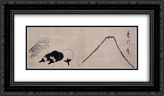 Mount Fuji and Eggplants 24x14 Black or Gold Ornate Framed and Double Matted Art Print by Hakuin Ekaku
