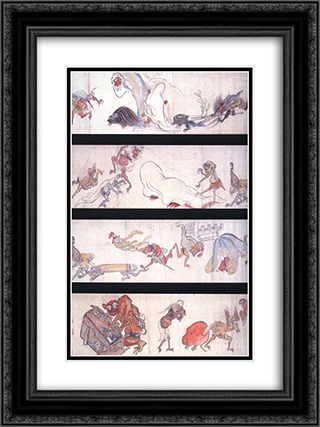 One Hundred Demons 18x24 Black or Gold Ornate Framed and Double Matted Art Print by Hakuin Ekaku