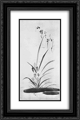 Orchid and Bee 16x24 Black or Gold Ornate Framed and Double Matted Art Print by Hakuin Ekaku