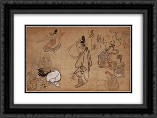 Seven Gods of Good Fortune 24x18 Black or Gold Ornate Framed and Double Matted Art Print by Hakuin Ekaku