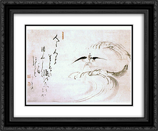 Swallow Among the Waves 24x20 Black or Gold Ornate Framed and Double Matted Art Print by Hakuin Ekaku