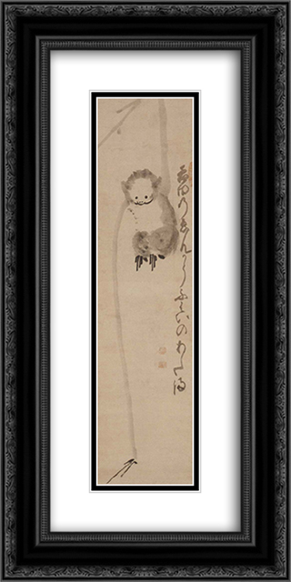 The Monkey Is Reaching For The Moon 12x24 Black or Gold Ornate Framed and Double Matted Art Print by Hakuin Ekaku