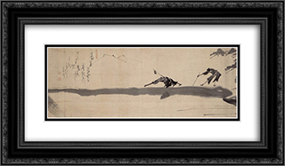 Two Blind Men Crossing a Log Bridge 24x14 Black or Gold Ornate Framed and Double Matted Art Print by Hakuin Ekaku