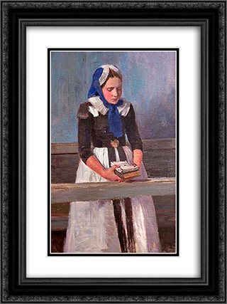 A Young Girl 18x24 Black or Gold Ornate Framed and Double Matted Art Print by Hans am Ende