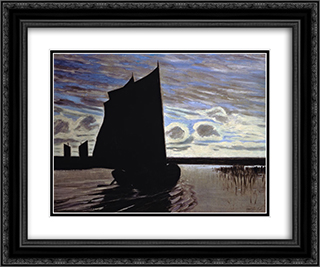 Barque on the River Hamme 24x20 Black or Gold Ornate Framed and Double Matted Art Print by Hans am Ende