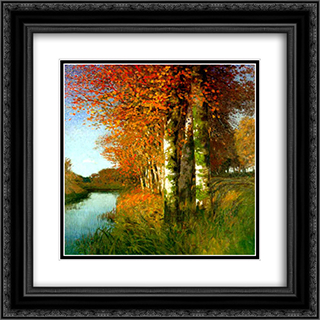 Birken am Moorgraben 20x20 Black or Gold Ornate Framed and Double Matted Art Print by Hans am Ende