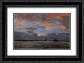 Torfkahne auf der Hamme 24x18 Black or Gold Ornate Framed and Double Matted Art Print by Hans am Ende