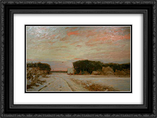 Winter in Worpswede 24x18 Black or Gold Ornate Framed and Double Matted Art Print by Hans am Ende