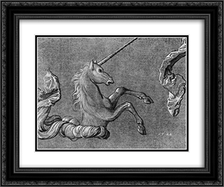 A study of Unicorn 24x20 Black or Gold Ornate Framed and Double Matted Art Print by Hans Baldung