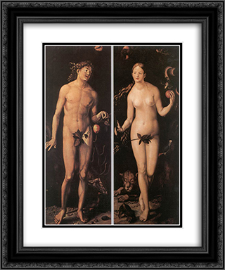 Adam and Eve 20x24 Black or Gold Ornate Framed and Double Matted Art Print by Hans Baldung