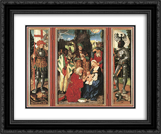 Adoration Of The Magi 24x20 Black or Gold Ornate Framed and Double Matted Art Print by Hans Baldung