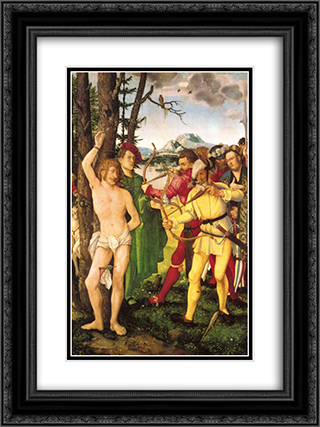 Altarpiece with The Martyrdom of St. Sebastian 18x24 Black or Gold Ornate Framed and Double Matted Art Print by Hans Baldung