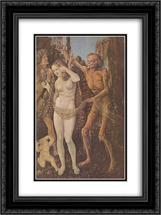 An Allegory of Death and Beauty 18x24 Black or Gold Ornate Framed and Double Matted Art Print by Hans Baldung