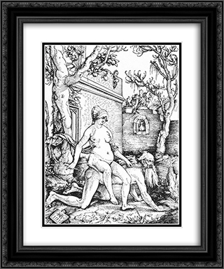 Aristotle and Phyllis 20x24 Black or Gold Ornate Framed and Double Matted Art Print by Hans Baldung
