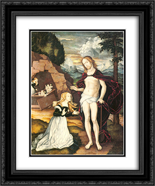 Christ as a gardener (Noli me tangere) 20x24 Black or Gold Ornate Framed and Double Matted Art Print by Hans Baldung