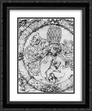 Coat of arms Basler Adelberg III of Bear Rock, Lord Arisdorf 20x24 Black or Gold Ornate Framed and Double Matted Art Print by Hans Baldung