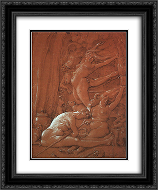 Departing for the Sabbath 20x24 Black or Gold Ornate Framed and Double Matted Art Print by Hans Baldung