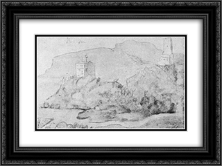 Drawing of the castles of Alsacien Ortenberg (right) and Ramstein (left) 24x18 Black or Gold Ornate Framed and Double Matted Art Print by Hans Baldung