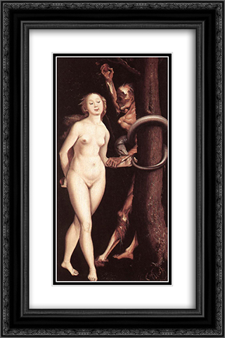 Eve, the Serpent and Death 16x24 Black or Gold Ornate Framed and Double Matted Art Print by Hans Baldung