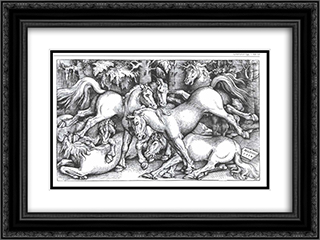 Group of Seven Wild Horses 24x18 Black or Gold Ornate Framed and Double Matted Art Print by Hans Baldung