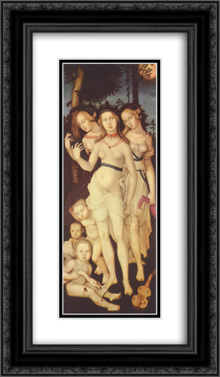 Harmony or The Three Graces 14x24 Black or Gold Ornate Framed and Double Matted Art Print by Hans Baldung