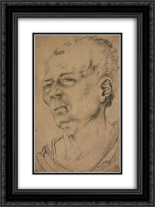 Head of man 18x24 Black or Gold Ornate Framed and Double Matted Art Print by Hans Baldung