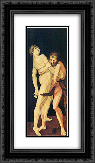 Hercules and Antaeus 14x24 Black or Gold Ornate Framed and Double Matted Art Print by Hans Baldung