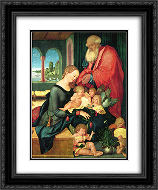 Holy Family in the room with five angels 20x24 Black or Gold Ornate Framed and Double Matted Art Print by Hans Baldung