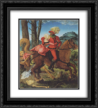 Knight, Death and girl 20x22 Black or Gold Ornate Framed and Double Matted Art Print by Hans Baldung