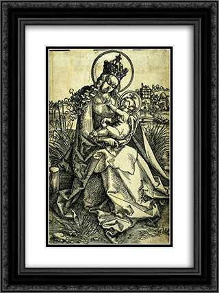 Madonna and Child 18x24 Black or Gold Ornate Framed and Double Matted Art Print by Hans Baldung
