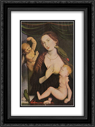 Madonna with the Parrots 18x24 Black or Gold Ornate Framed and Double Matted Art Print by Hans Baldung