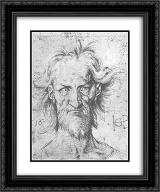 Male head 20x24 Black or Gold Ornate Framed and Double Matted Art Print by Hans Baldung
