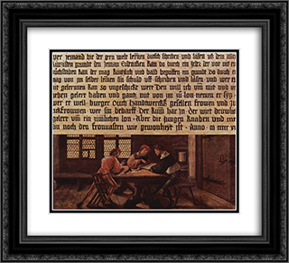 A School Teacher Explaining the Meaning of a Letter to Illiterate Workers 22x20 Black or Gold Ornate Framed and Double Matted Art Print by Hans Holbein the Younger