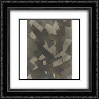 Abstract composition 20x20 Black or Gold Ornate Framed and Double Matted Art Print by Hans Richter