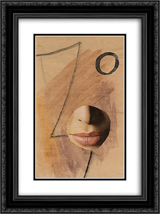 Dada Head Variation - no. 507 18x24 Black or Gold Ornate Framed and Double Matted Art Print by Hans Richter
