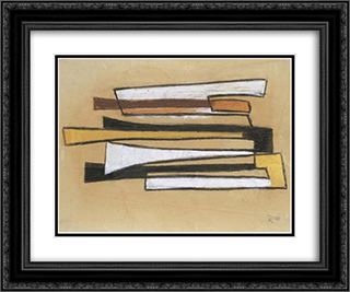 Dymo Sketch II 24x20 Black or Gold Ornate Framed and Double Matted Art Print by Hans Richter