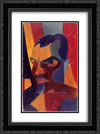 Self Portrait 18x24 Black or Gold Ornate Framed and Double Matted Art Print by Hans Richter