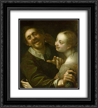 A couple at a guesthouse 20x22 Black or Gold Ornate Framed and Double Matted Art Print by Hans von Aachen