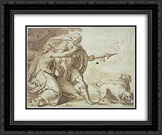 Adonis held back by Venus while going hunting 24x20 Black or Gold Ornate Framed and Double Matted Art Print by Hans von Aachen