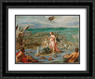 Allegory on the battle of Sisak 24x20 Black or Gold Ornate Framed and Double Matted Art Print by Hans von Aachen