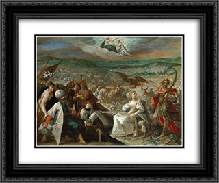 Allegory on the conquest of Stuhlweissenburg (Szekesfehervar) 24x20 Black or Gold Ornate Framed and Double Matted Art Print by Hans von Aachen