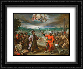 Allegory on the declaration of war before Constantinople 24x20 Black or Gold Ornate Framed and Double Matted Art Print by Hans von Aachen