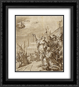 Augustus and the Tiburtine Sibyl 20x22 Black or Gold Ornate Framed and Double Matted Art Print by Hans von Aachen