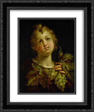 Boy with grapes 20x24 Black or Gold Ornate Framed and Double Matted Art Print by Hans von Aachen