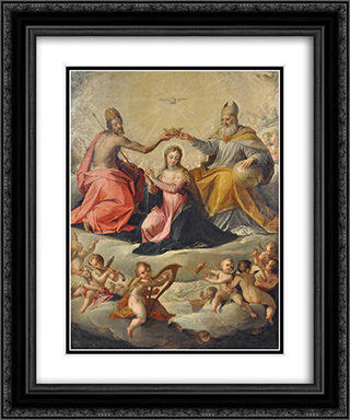 Coronation of Mary 20x24 Black or Gold Ornate Framed and Double Matted Art Print by Hans von Aachen